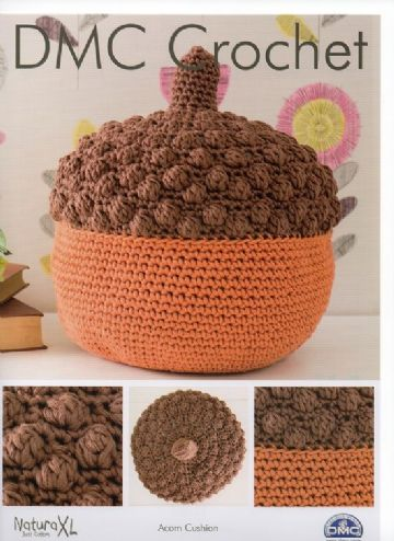 DMC Natura XL Crochet Pattern. Acorn Cushion.